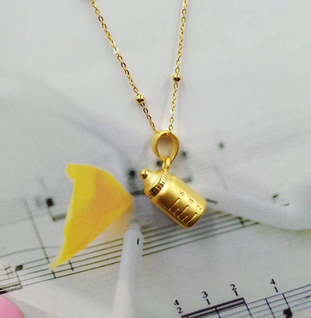 24k pure gold milk bottle child feeder pendant necklace - Xingjewelry