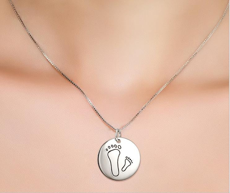925 sterling silver footprint pendant necklace - Xingjewelry