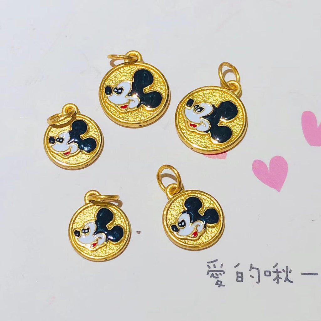 18k good luck micky mouse charm pendant