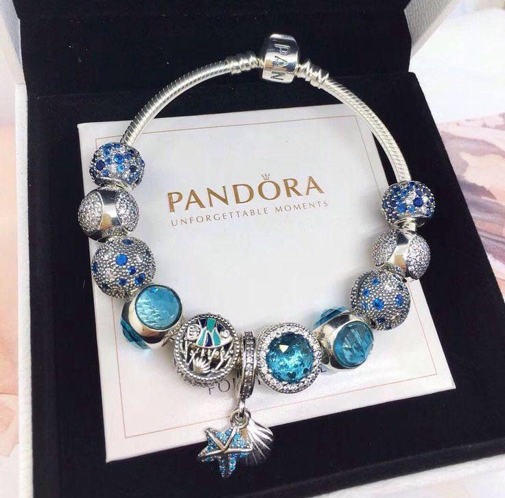 Pandora light blue luxury theme bracelet with 11pcs charms