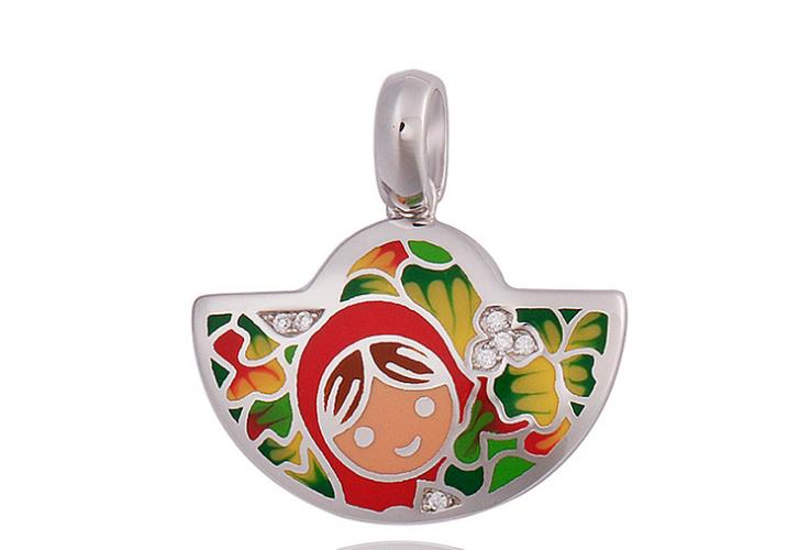 925 sterling silver color painting pendant necklace - Xingjewelry