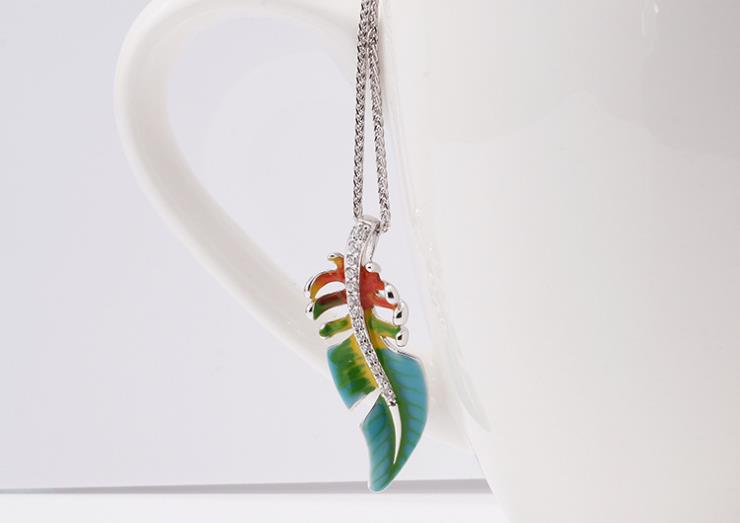 925 sterling silver color painting leaf pendant necklace - Xingjewelry