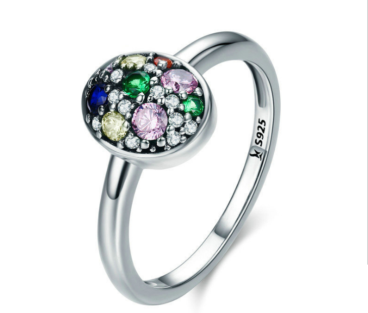 925 sterling silver colorful zircon stone ring new year christmas holiday gift - Xingjewelry