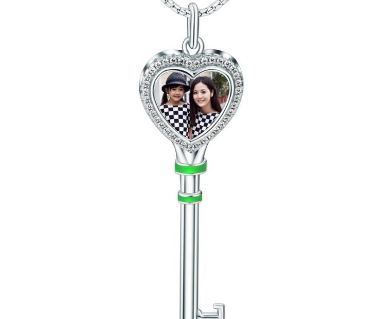 925 sterling silver key photo charm pendand for necklace - Xingjewelry