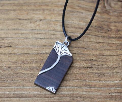 990 silver black ebony wood lotus flower necklace - Xingjewelry