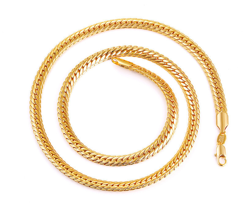 Solid gold chain necklace for man woman couples