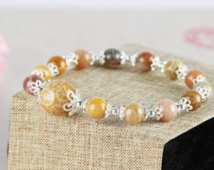 Coral jade bracelet silver chain - Xingjewelry