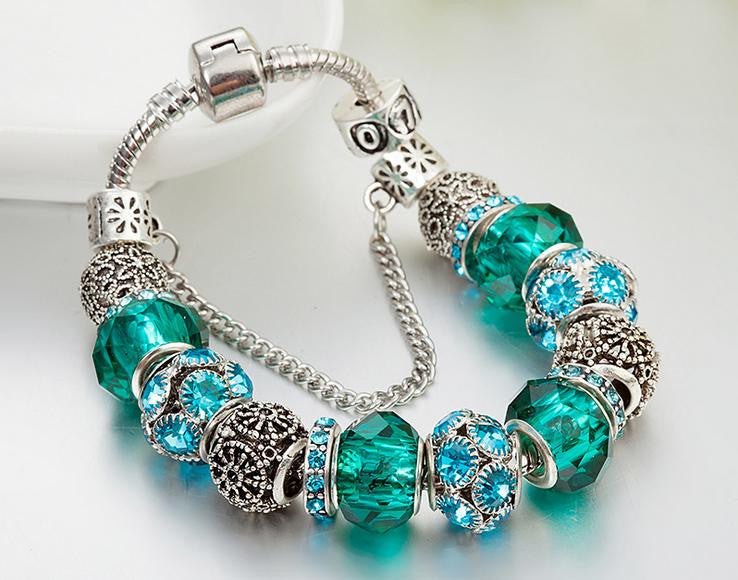 dark green color diamond charm bracelet - Xingjewelry