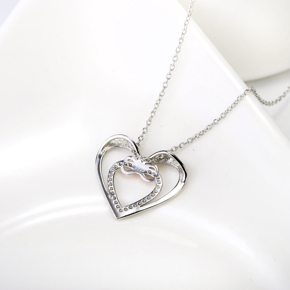 double heart 925 sterling silver necklace - Xingjewelry