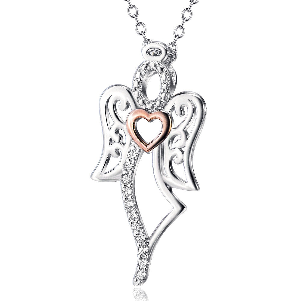 925 sterling silver angel with heart pendant necklace - Xingjewelry