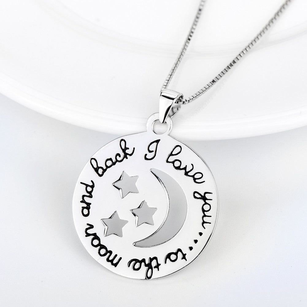 925 sterling silver print necklace - Xingjewelry