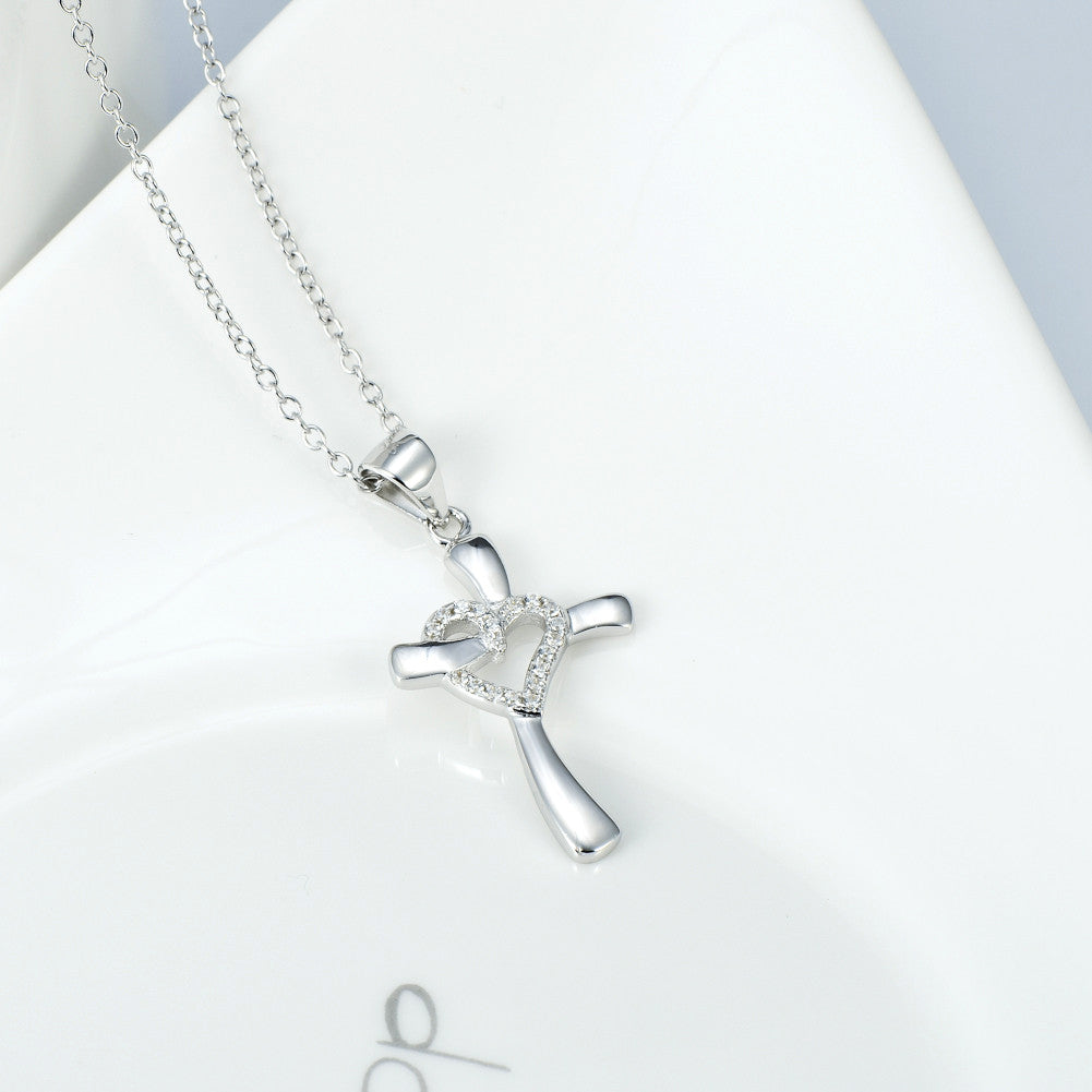 heart cross relief 925 sterling silver necklace - Xingjewelry