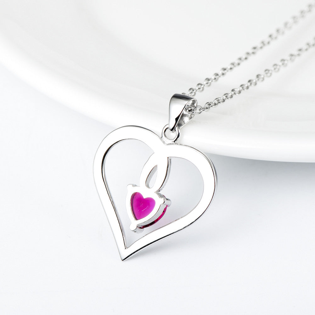 925 sterling silver heart necklace - Xingjewelry