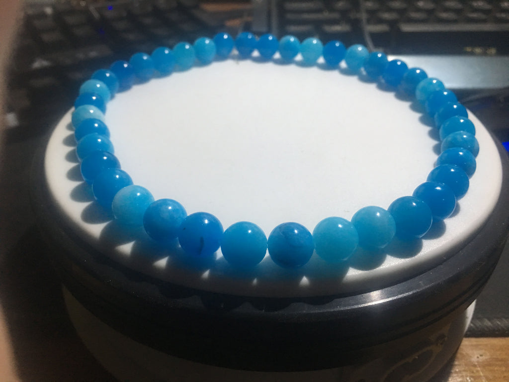 Double circle  blue jade bead elastic bracelet