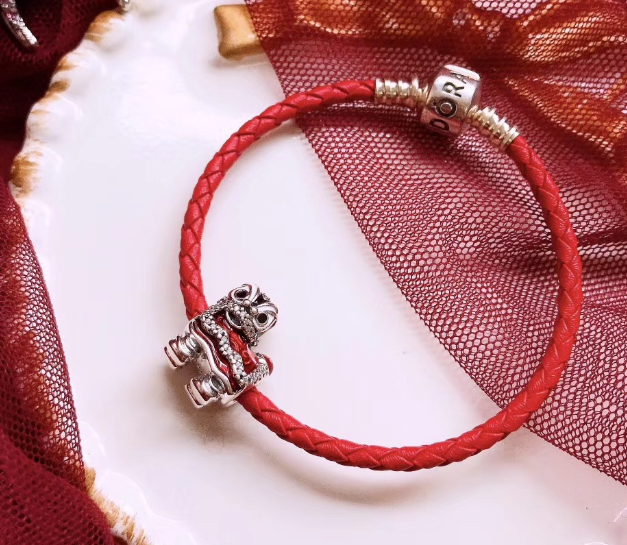 pandora red leather dancing lion charm bracelet