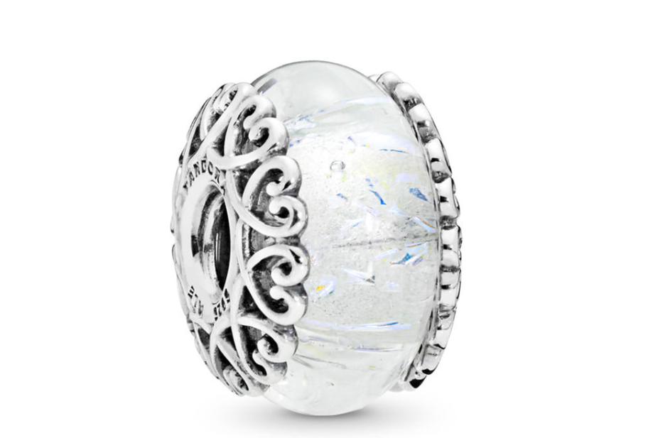 Iridescent White Glass Charm