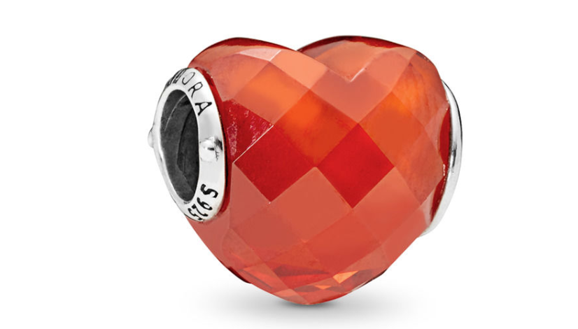 Pandora Shape of Love Charm, Orange Cubic Zirconia