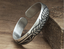 999 silver grains pattern open bangle bracelet