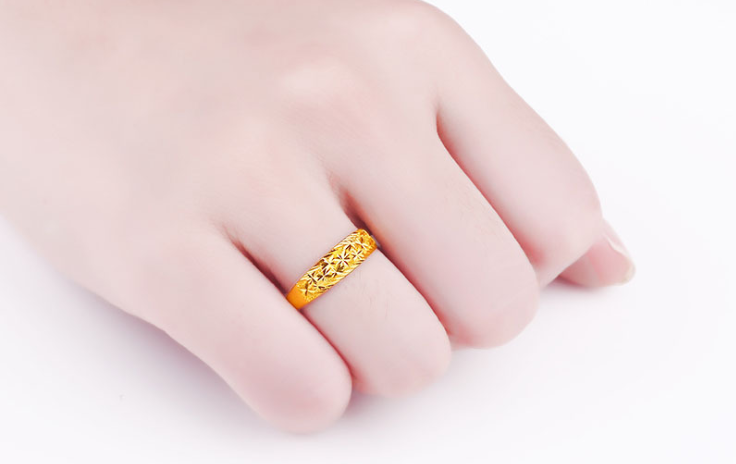 999 gold star engraved open ring