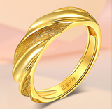 Gold twist pattern open ring