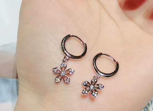 925 sterling silver star flower star pendant earring