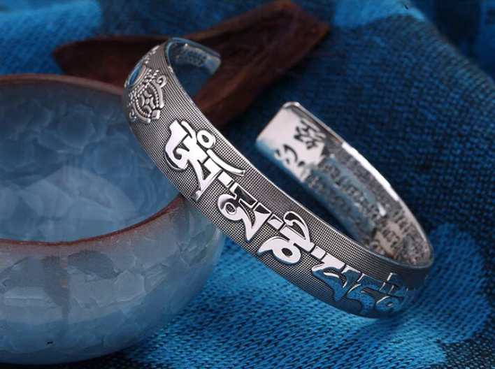 Sterling silver six words sutra open bangle