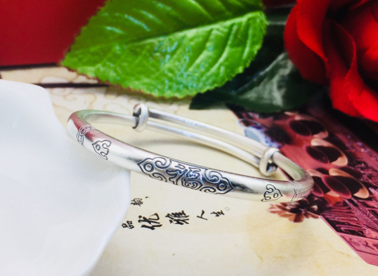 925 sterling silver traditional style push bangle bracelet