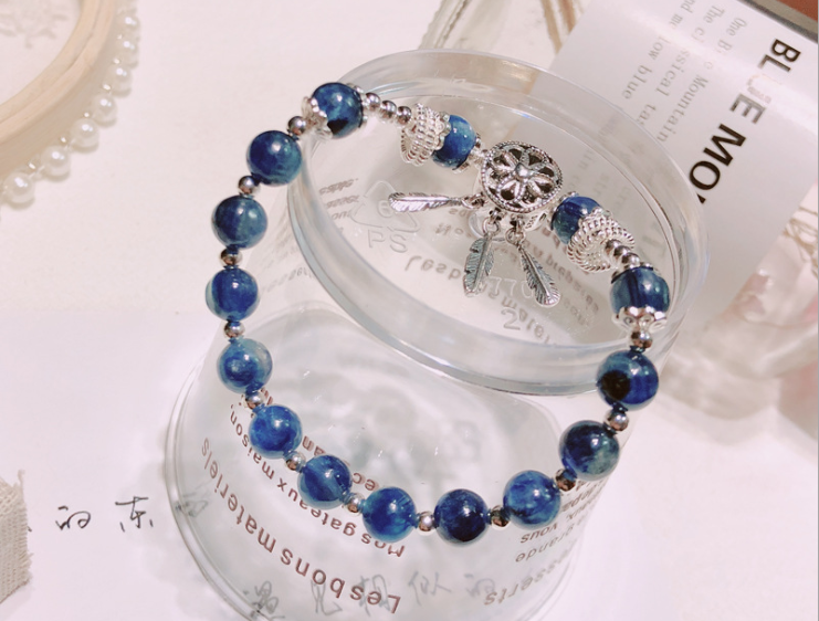 925 sterling silver dream catcher blue crystal beaded charm bracelet