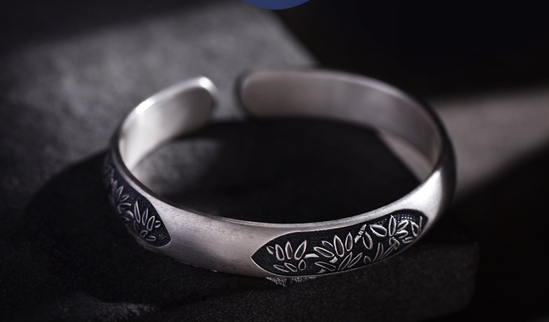925 sterling silver tree plant bangle bracelet
