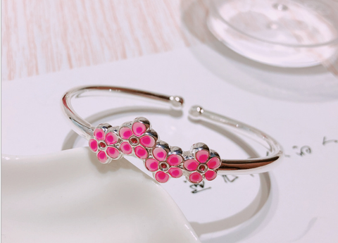925 sterling silver plum flower open bangle
