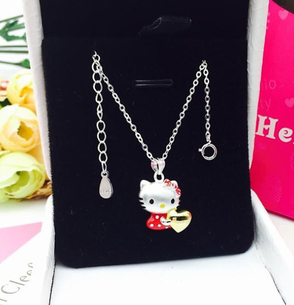 462b72f64 925 sterling silver hello kitty pendant necklace /red & gold heart ...