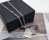 925 sterling silver poker pendant necklace