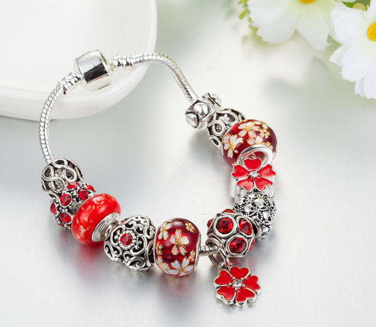 European charm bracelet red flower theme