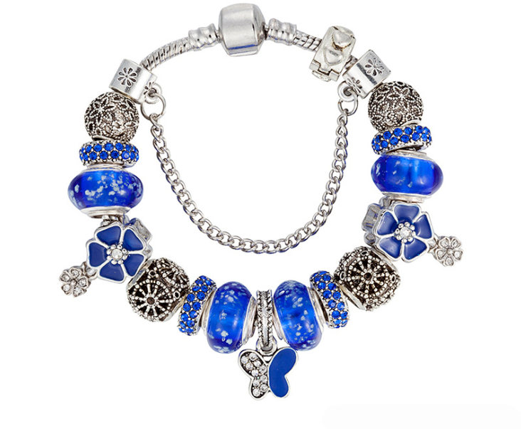 European Charm Bracelet Sea Blue Theme