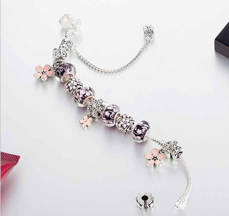 European purple theme charm bracelet