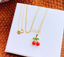 18k gold red coral diopside stone cherry pendant necklace - Xingjewelry