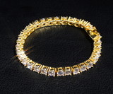 GOLD PLATE TENNIS CHAIN SILVER BRACELET
