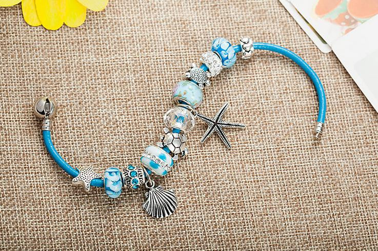 sea series theme leather rope charm bracelet - Xingjewelry