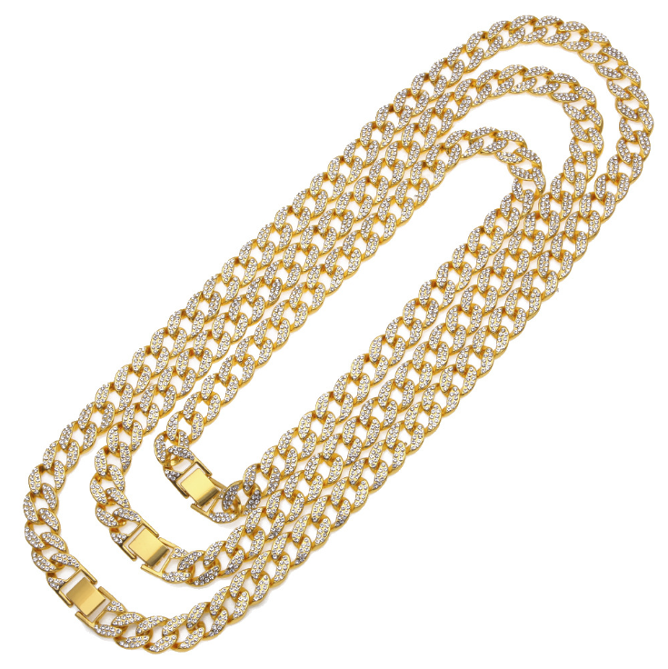 ZINC ALLOY GOLD PLATE HIPHOP NECKLACE 嘻哈饰品满钻项链
