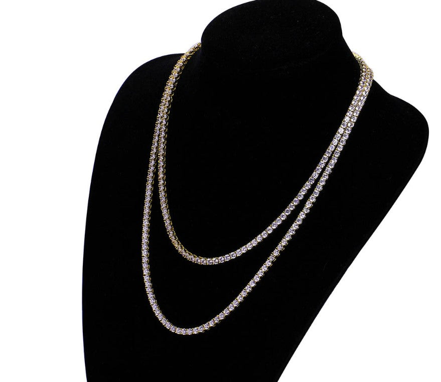 Tennis chain zirconia stone gold necklace hiphop style新款微镶锆石单排4mm项链 嘻哈饰品项链