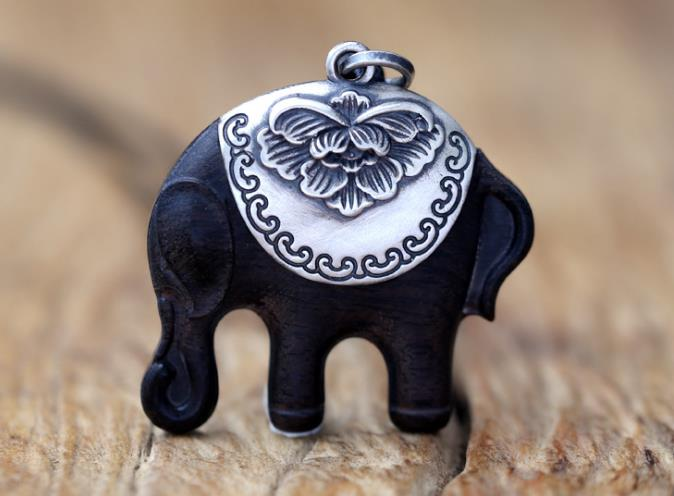 990 silver black ebony wood elephant pendant for necklace - Xingjewelry