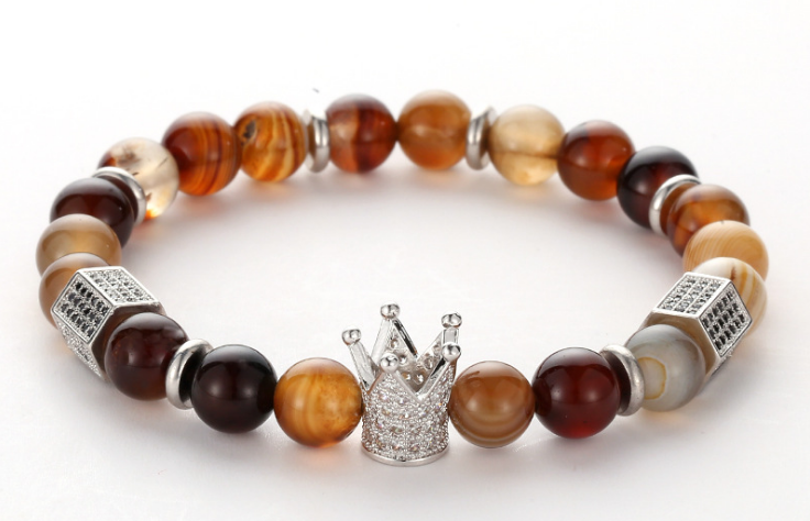Colorful agate stone crown beaded elastic hot selling bracelet - Xingjewelry