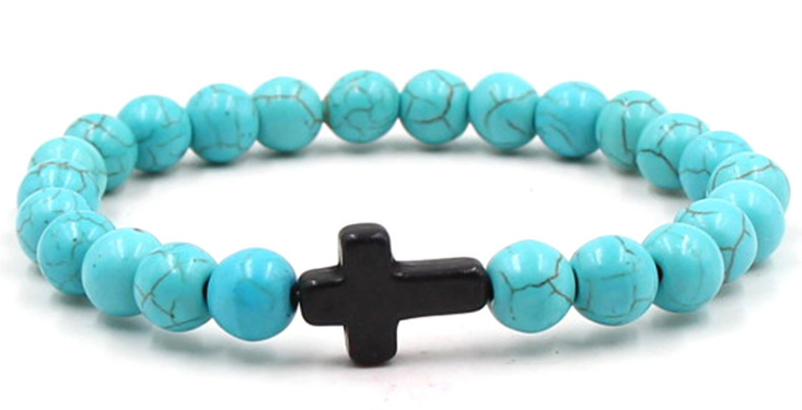 Turquoise blue stone black cross beaded elastic bracelet