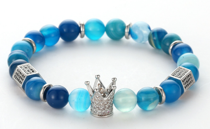 Blue agate stone crown beaded elastic hot selling bracelet - Xingjewelry