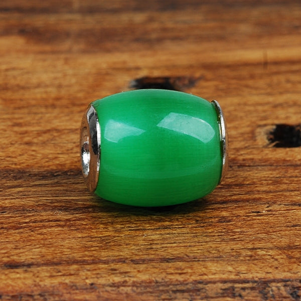 Cateye stone 925 silver luck bringer charm bead green pink white 3 colors available - Xingjewelry