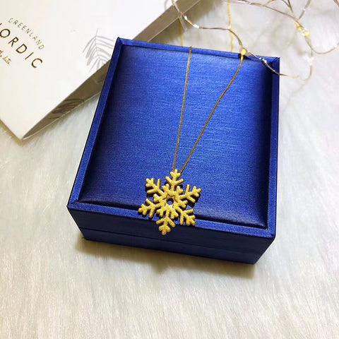 24k gold snow flake pendant necklace christmas gift - Xingjewelry