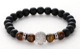 Diamond skull head anaceous stone beaded elastic hot selling bracelet