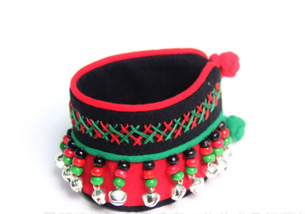 Ethnic style red/green cotton bangle bracelet with bells bracelet band - Xingjewelry
