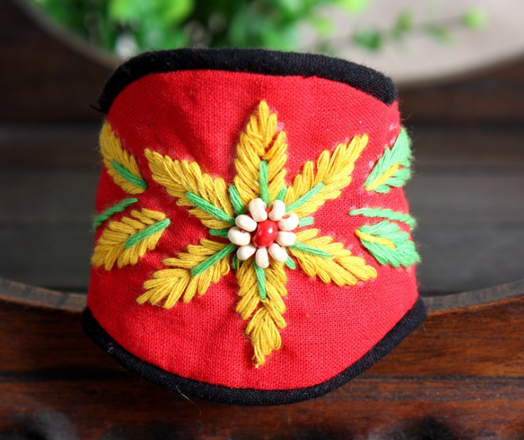 Ethnic style red/green flower cotton bangle bracelet wrist band - Xingjewelry