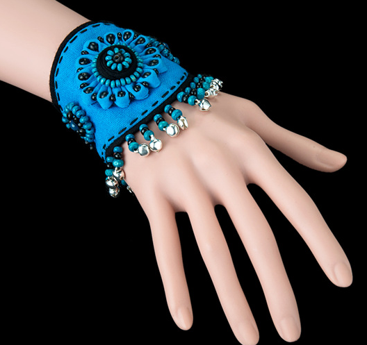 Ethnic style blue flower cotton bangle bracelet with bells bracelet band - Xingjewelry